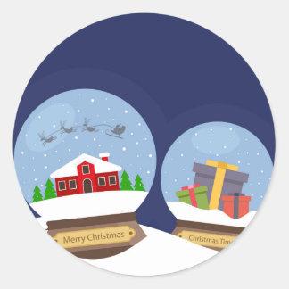 Christmas Snow Globes and Santa Claus Present Round Sticker