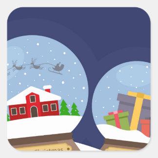 Christmas Snow Globes and Santa Claus Present Square Sticker