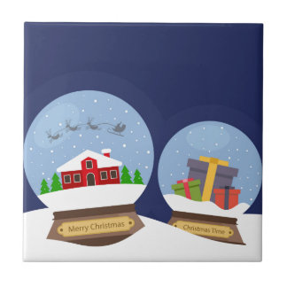 Christmas Snow Globes and Santa Claus Present Tile