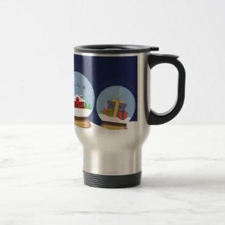 Christmas Snow Globes and Santa Claus Present Travel Mug