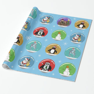Christmas Snow Globes Wrapping Paper