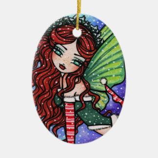 Christmas Snow Irish Fae Fairy Art by Hannah Lynn Ceramic Oval Ornament