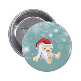 Christmas Snow Monster Doll With a Red Santa Hat 2 Inch Round Button