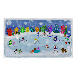 Christmas Snow Night Art Poster Print