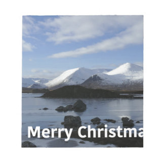 Christmas snow on Black Mount , Scotland Notepad