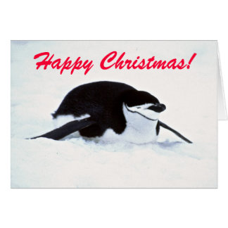 Christmas Snow Penguin Greetings Card