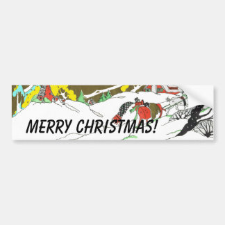 Christmas Snow Scene Car Bumper Sticker