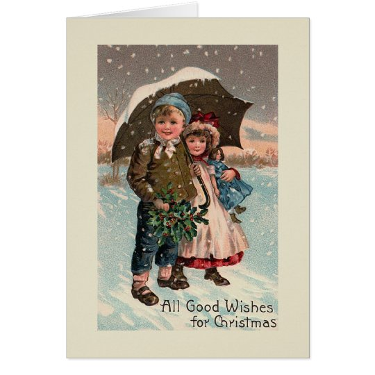 """Christmas Snow Umbrella"" Greeting Card"