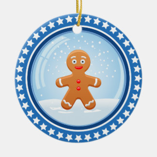 Christmas Snowball with Cute Gingerbread Man Round Ceramic Ornament