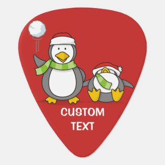 Christmas Snowballing penguins Guitar Pick