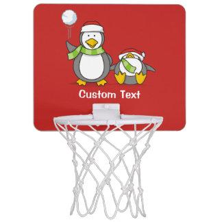 Christmas Snowballing penguins Mini Basketball Hoop