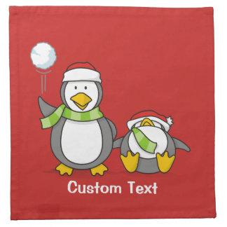 Christmas Snowballing penguins Napkin
