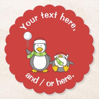 Christmas Snowballing penguins Paper Coaster