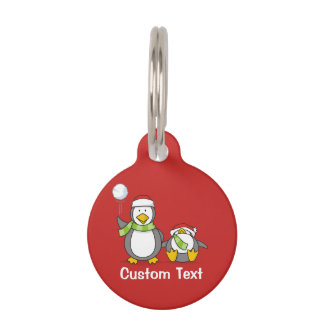 Christmas Snowballing penguins Pet Name Tag