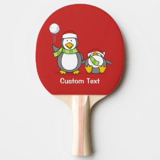 Christmas Snowballing penguins Ping Pong Paddle