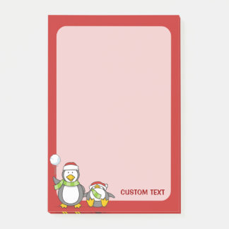 Christmas Snowballing penguins Post-it Notes