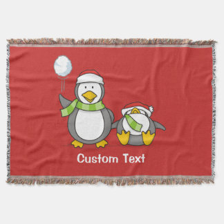 Christmas Snowballing penguins Throw Blanket