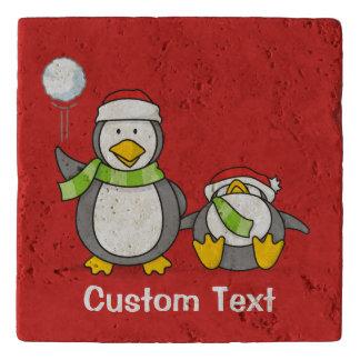 Christmas Snowballing penguins Trivet