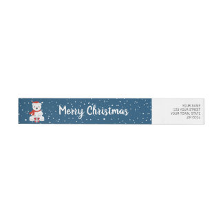 Christmas Snowbear Wrap Around Label
