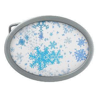 Christmas Snowfall Oval Belt Buckle