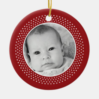Christmas Snowflake: Double-Sided Photo Round Ceramic Ornament
