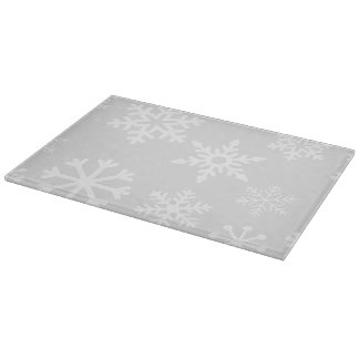 Christmas Snowflake Glass Cutting Board