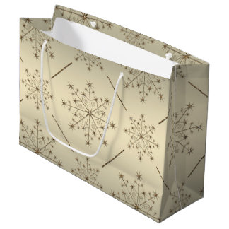 Christmas Snowflake Gold Glitter Pattern Large Gift Bag