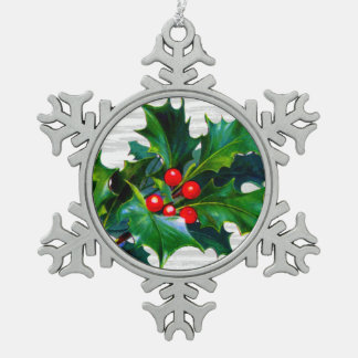 Christmas Snowflake Holly Berry Holiday Keepsake Ornament