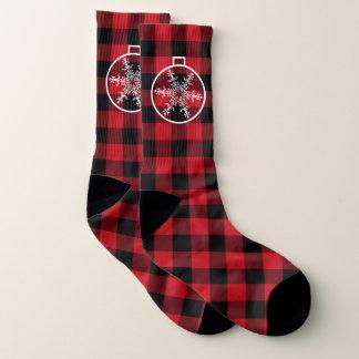 Christmas snowflake lumberjack pattern socks 1