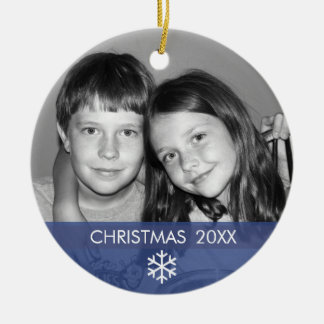 Christmas Snowflake Photo Frame - Modern Round Ceramic Ornament