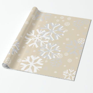Christmas Snowflake Wrapping Paper-Beige Wrapping Paper