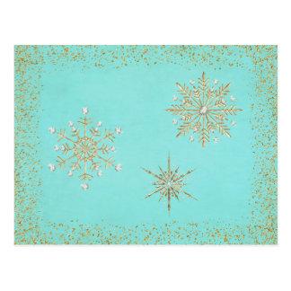 Christmas Snowflakes Aqua & Gold Postcard
