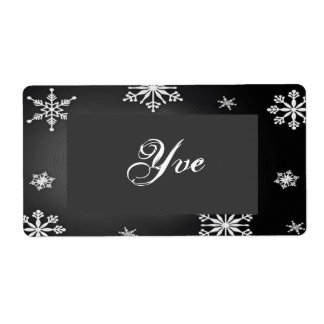Christmas Snowflakes Black And Grey Template II Shipping Label