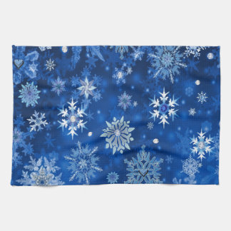 Christmas Snowflakes Blue and Silver Kitchen Towel
