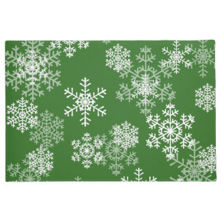 Christmas Snowflakes Door Mat-Green Doormat