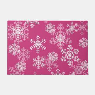 Christmas Snowflakes Door Mat-Magenta Pink Doormat