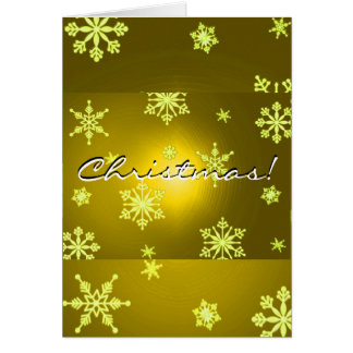 Christmas Snowflakes Gold In English Greeting Card