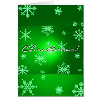 Christmas Snowflakes Green In English Greeting Card
