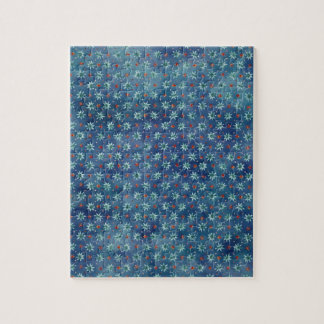 Christmas snowflakes on a blue background puzzle