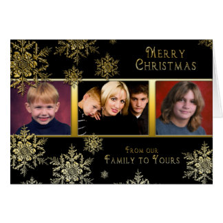 Christmas Snowflakes Photo Card - Black/Gold
