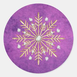 Christmas Snowflakes Purple & Gold Classic Round Sticker