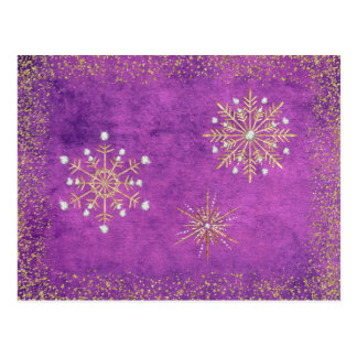 Christmas Snowflakes Purple & Gold Postcard