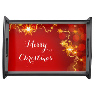 Christmas snowflakes red modern serving tray