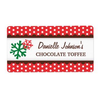 Christmas snowflakes red polka dot canning jar shipping label