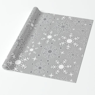 Christmas snowflakes silver grey pattern wrapping paper