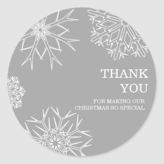 Christmas Snowflakes Thank You Stickers - Silver