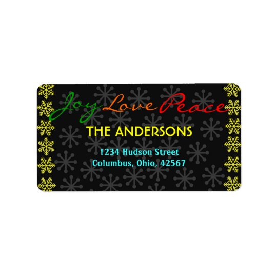 Christmas SnowflakesJoy Love Peace Address Labels