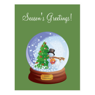 Christmas Snowglobe Custom Holiday Postcard