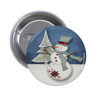 Christmas Snowman 2 Inch Round Button
