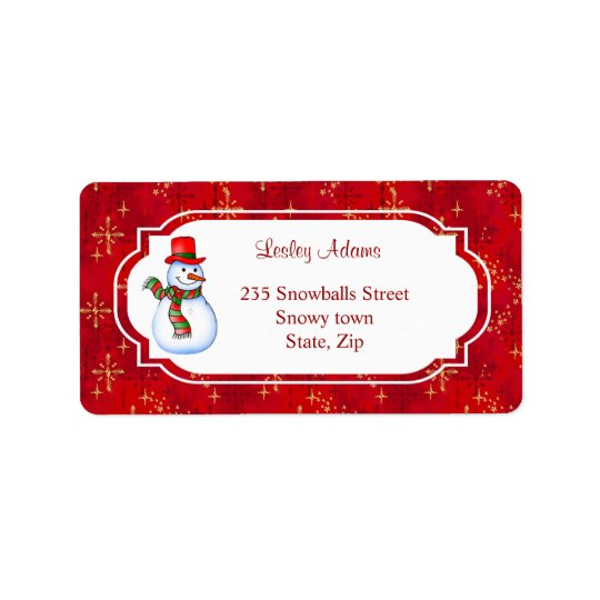 Christmas Snowman Address  Label
